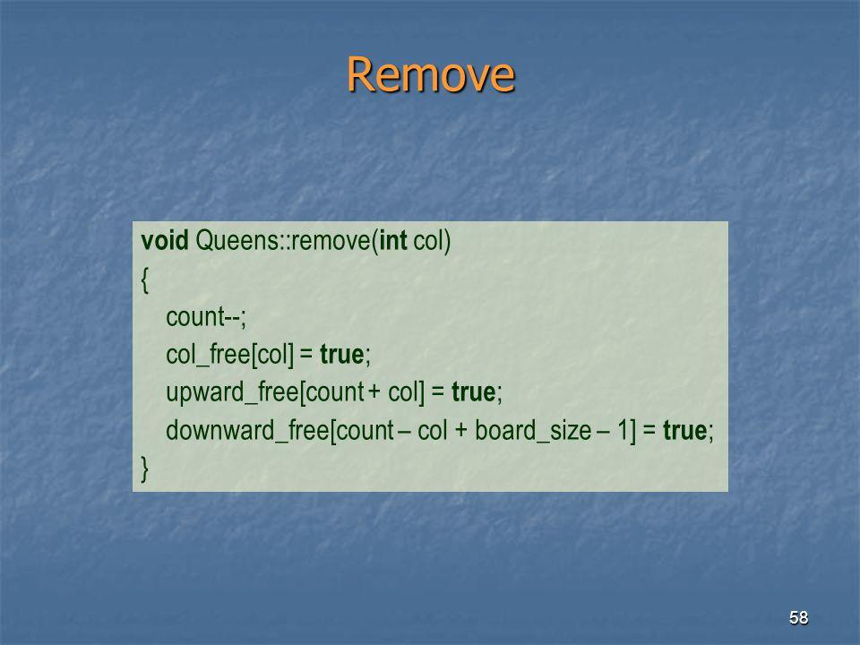Remove void Queens::remove(int col) { count--; col_free[col] = true;